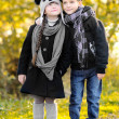 Portrait of little boy and girl outdoors in autumn — Stock Photo #14869601