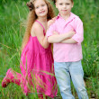 Portrait of little boys and girls outdoors in summer — Stock Photo #14870031