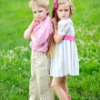Portrait of little boys and girls outdoors in summer — Stock Photo #18335591