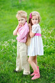 Portrait of little boys and girls outdoors in summer — Stok fotoğraf
