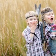 Stock Photo: Portrait of little children dressed as Indians