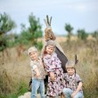 Portrait of little children dressed as Indians — Stock Photo