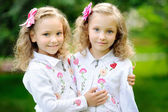 Portrait of two sisters twins in the summer — Stockfoto