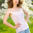 Portrait of a beautiful girl in spring — Stock Photo