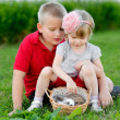 Portrait of little boy and girl outdoors — Stockfoto #28996507