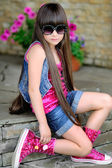 Portrait of a beautiful fashion little girl — Stock Photo