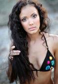 Portrait of a beautiful young girl in a bikini — Stock Photo