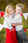 Portrait of little boy and girl with decor style Valentine's Day — Stock Photo