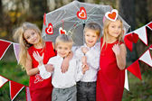 Children with decor style Valentine's Day — Stock Photo