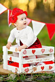 Portrait of little girl with decor style Valentine's Day — Stock Photo