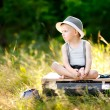 Portrait of little stylish boy outdoors — Stock Photo #39067375