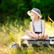 Portrait of little stylish boy outdoors — Stock Photo