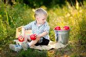 Portrait of little stylish boy outdoors — Stock Photo