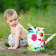 Portrait of little boy outdoors in summer — Stock Photo #39093701