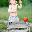 Portrait of little boy outdoors in summer — Stock Photo