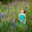 Portrait of little girl outdoors in summer — Stock Photo #47280781