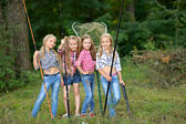 Portrait of young children on a camping holiday — Stok fotoğraf