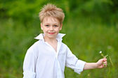Portrait of a little boy in the woods — Stock Photo