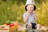 Portrait of a boy on vacation in summer camp — Stock Photo