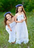 Portrait of two girls in the woods girlfriends — Stok fotoğraf