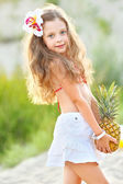 Portrait of little girl on the beach — Stock Photo