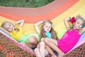 Portrait of three little girls in summer — Stock Photo