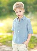 Portrait of a little boy in summer — Stock Photo