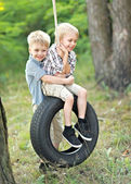 Portrait of young children on a camping holiday — Stock Photo