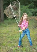 Portrait of a little girl in a summer camp — Stock Photo