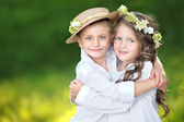 Portrait of a boy and girl in summer — Stok fotoğraf