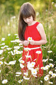 Portrait of a beautiful little girl with chamomile — Stock Photo