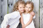 Portrait of two girls in the woods girlfriends — Foto Stock