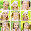Collage of cute little girl on the meadow — Stock Photo