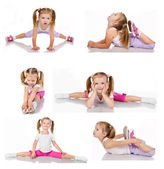 Collection of gymnast cute little girl isolated — Stock Photo