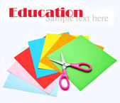 Colorful paper with scissors for children isolated — Stock Photo