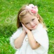 Cute little girl on the meadow - Stock Photo
