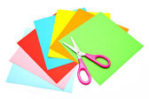 красочные бумаги ножницами для детей, изолированные — Стоковое фото
