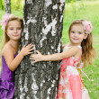 Portrait of two cute little girls — Stock Photo