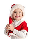 Happy little girl with christmas hat — Stock Photo