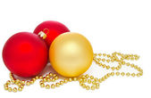 Gold and red christmas balls — Stock Photo