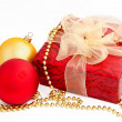 Gold red christmas balls and gift box on a white — Stock Photo