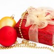 Gold red christmas balls and gift box on a white — Stock Photo #14577817