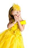 Portrét roztomilá holčička v šaty princezny — Stockfoto