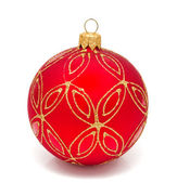 Red christmas ball on a white — Stock Photo