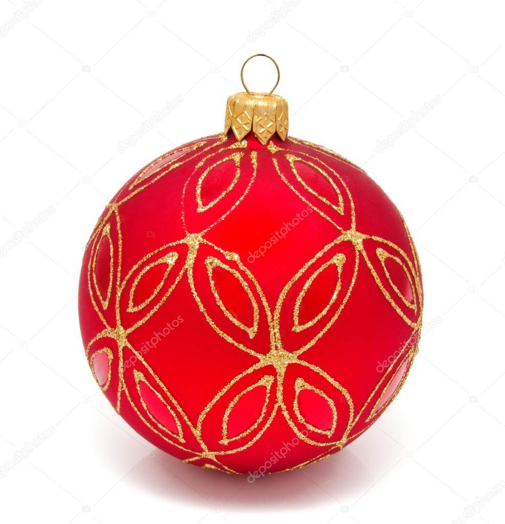 Red christmas ball on a white background   Stock Photo #15832255