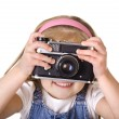 Royalty-Free Stock Photo: Little girl with old camera isolated
