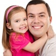 Portrait of smiling father and daughter isolated — Stock Photo