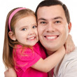 Portrait of smiling father and daughter isolated — Stock Photo #18111305