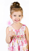 Portrait of cute smiling little girl in princess dress — Stock Photo