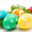 Colorful easter eggs isolated over white — Stock Photo